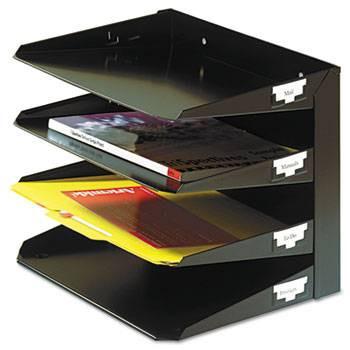 Steelmaster Letter Paper Organizer, 4 Tier, Steel, Black