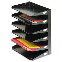 Steelmaster Letter Paper Organizer, 6 Tier, Steel, Black