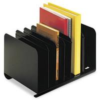 Steelmaster Adjustable Vertical Desk Organizer, 6 Sections, Steel, Black