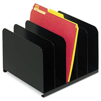 Steelmaster Vertical Desk Organizer, 5 Sections, Steel, Black