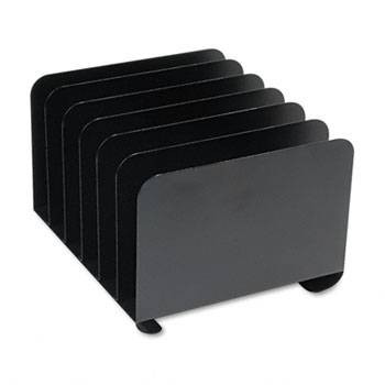 Steelmaster Desktop Vertical Organizer, 6 Sections, Steel, Black
