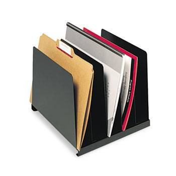 Steelmaster Angled Vertical Desk Organizer, 5 Sections, Steel, Black