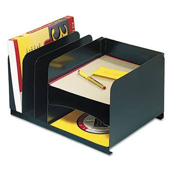 Steelmaster Vertical/Horizontal Combo Desk Organizer, 6 Sections, Steel, Black