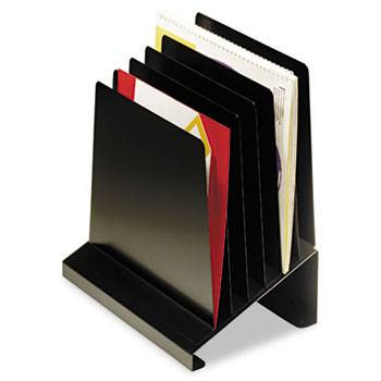 Steelmaster Slanted Vertical Desk Organizer, 6 Sections, Steel, Black
