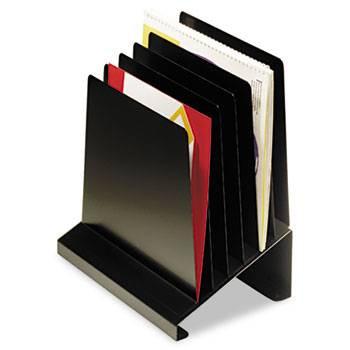 Steelmaster Slanted Vertical Desk Organizer, 6 Sections, Steel, Black