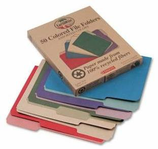 Earthwise Recycled File Folders, Letter Size, 100% PCR, Box/100 Folders