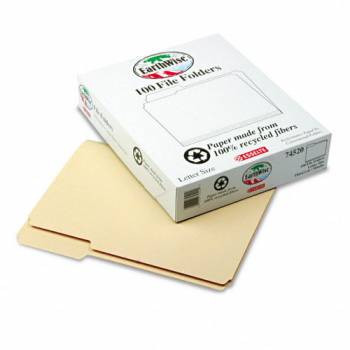 Pendaflex Earthwise Manila File Folders, 1/3'' Cut Top Tab, 1/2'' Expansion, Letter Size, 100/Box