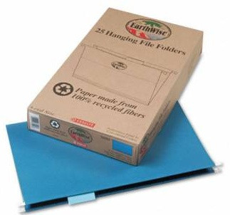 Earthwise Recycled Hanging File Folders, Letter Size, 1/5'' Cut Top Tab, 25/Box