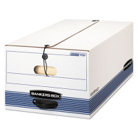 Banker's Box FastFold Stor/File Box, Button-Tie, Legal Size, 15w X 10h X 24d, 59% PCR, Carton/12 Boxes