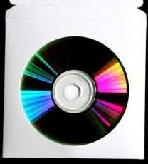 CD/DVD Sleeve, 4'' Circular Window, 5'' x 5'', White, 80% PCR, Box/25 Sleeves