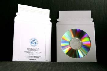 CD/DVD Sleeve, 4'' Circular Window, Pull-Tab Perforated Self-Seal Flap, 5'' x 5'', White,