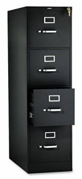 HON 310 Series Four-Drawer Full-Suspension File Cabinet, Letter, 15w X 52h X 26 1/2d Black