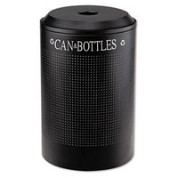 Rubbermaid Silhouette Can/Bottle Recycling Receptacle, Round, Steel, 26 Gal, Textured Black
