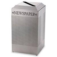 Rubbermaid Silhouette Paper Recycling Receptacle, Square, Steel, 29 Gal, Silver Metallic