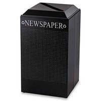 Rubbermaid Silhouette Paper Recycling Receptacle, Square, Steel, 29 gal, Textured Black