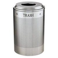 Rubbermaid Silhouette Waste Receptacle, Round, Steel, 26 Gal, Silver Metallic