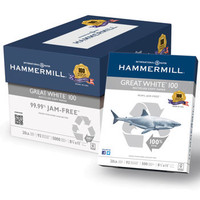 Hammermill Recycled Great White Copy Paper, 8 1/2'' x 11'', 100% PCR, Carton