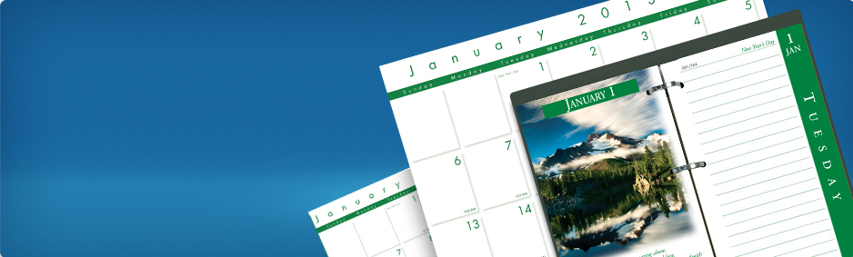 100% Recycled Paper 2013 Calendars and Plannars