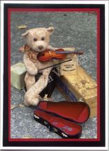 Handmade Hobo Bear Violin Card