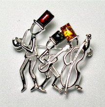 """Jazz Men"" Pin in Sterling Silver and Amber"