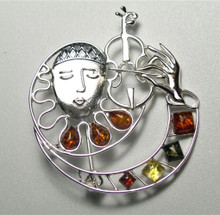 Harlequin Violin Pin in Sterling Silver and Amber