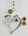 Treble and Bass Clef Pendant in Amber and Sterling