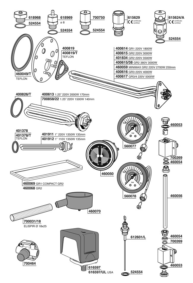 Industrial Coffee Maker Parts : Parts - Espresso Coffee Machine Parts - Vibiemme (VBM) - Commercial - Vibiemme VBM Boiler ...