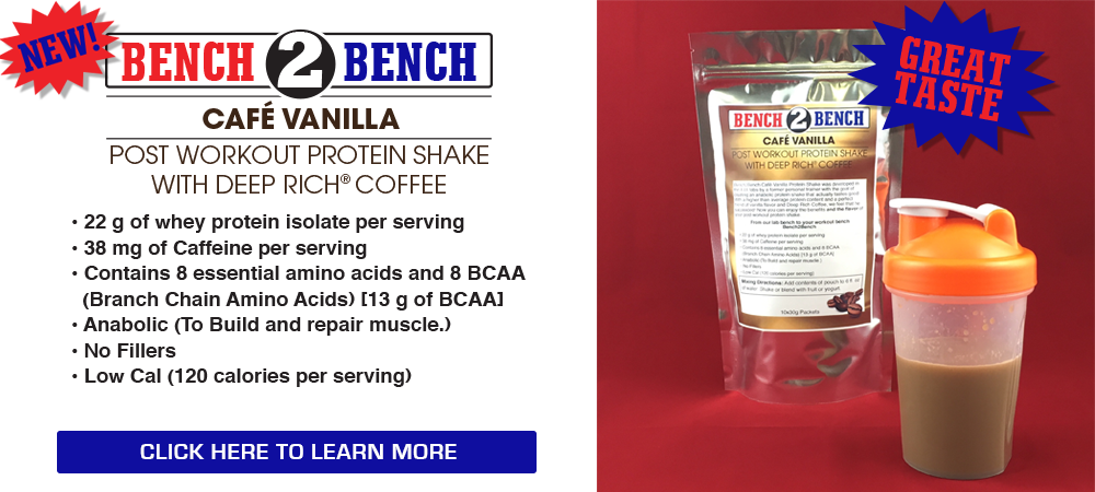 New! Bench 2 Bench Café Vanilla Post-Workout Protein Shake with Deep Rich Coffee!