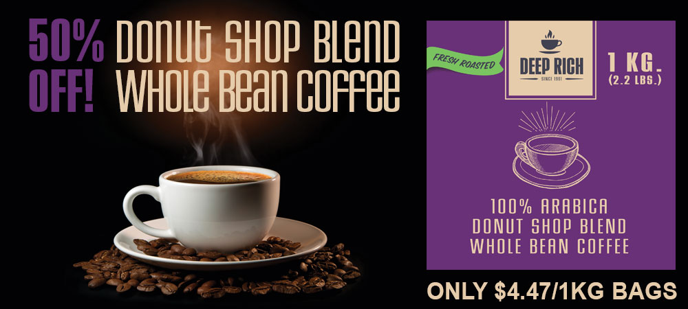 50% Off Donut Shop Blend Fresh Roasted Whole Bean Coffee