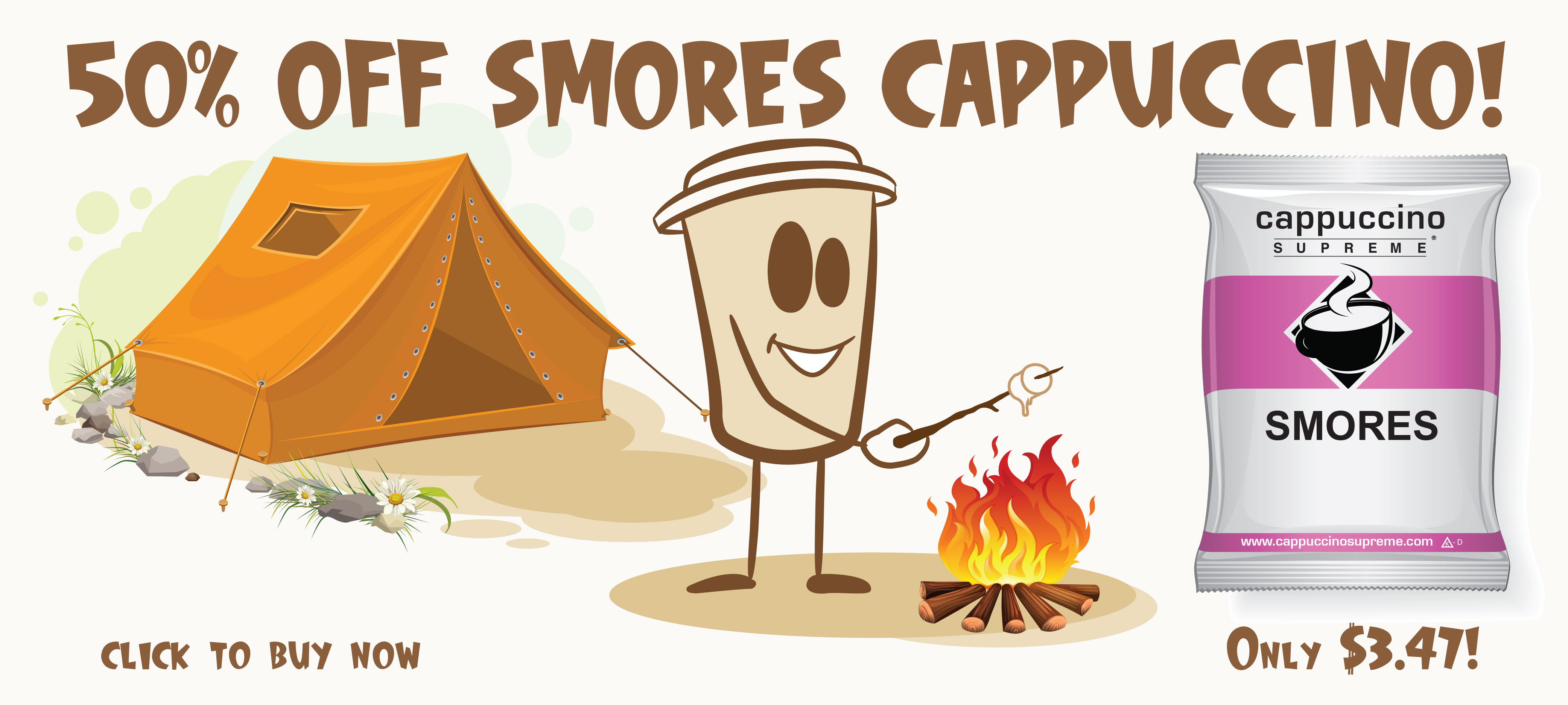 50% Off smores instant cappuccino mix. Only 3.47