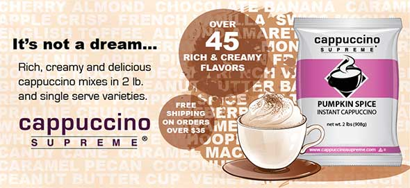 rich, creamy and delicious cappuccino mix in 2 lb and single serve varieties