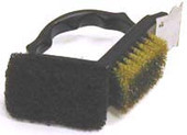2-way Grill Brush With Scrubber With Stainless Steel Or Brass Bristles And Scraper