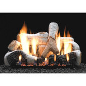 "18"" Birch Gas Log Set w Slope Glaze Burner, Manual Pilot"