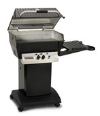 Deluxe H3-X Series Gas Grill on Black Cart w 1 Side Shelf