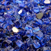 American Fireglass Cobalt Blue Reflective | 1/2-in Fire Glass | 1 lb