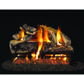 18-in Charred Rugged Split Oak Log Set | G4 Burner | Match Light | NG