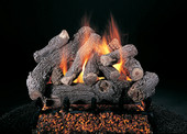 18-in | Bonfire Log Set | Custom Embers Pan Burner | Double Face | Match Light | NG