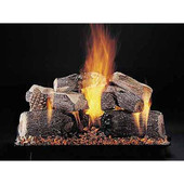 24-in Evening Lone Star Double Face Log Set | Custom Embers Pan Burner | Match Light