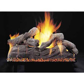 18-in Manzanita Double Face Log Set | Custom Embers Pan Burner | Match Light | NG
