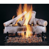 18-in Birch Double Face Log Set | Flaming Ember Burner | Match Light | NG