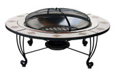 Wood-burning Fire bowl w decorative Ceramic tile surround