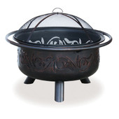Wood burning bronze fire bowl w swirl design