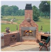 "HWB700OD - Monessen 44"" Radiant Outdoor Wood Burning Fireplace Insert with Herringbone Firebrick (Fireplace ONLY)"