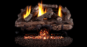 16/18-in Charred Aged Split Log Set w G10 Burner, Variable Remote | NG