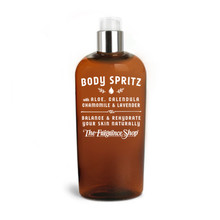 Body Spritz with Aloe, Chamomile, Calendula & Lavender Balance & Rehydrate your skin naturally! Carefully composed of five herbal extracts, this gentle spritz rejuvenates your skin instantly and leaves nothing behind but a hydrated & clean skin-firming tingle (and your fragrance). Price includes custom scenting with the fragrance of your choice.  Active Ingredients: Aloe Leaf Juice, Chamomile Flower Extract, Calendula Extract, Lavender Extract, Melissa Leaf Extract, Vitamin B5, and Vitamin C. Available in two or eight fluid ounce sizes (59 or 239 milliliters)