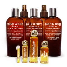 BATH & BODY COLLECTION (8 Ounce Shown): Body Lotion, Dry Body Oil, Aftershave Balm, Body Spritz, Bath Gel  á  PERFUME OIL SIZES: 14 Day Sample, 1/4 Ounce, 1 Ounce, 1/2 Ounce