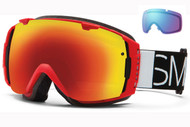 Smith I/O Goggle-Fire Blockhead with Red Sol-x and Blue Sensor Lenses 2014