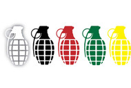 "Grenade 8.5"" Solid Die Cut Sticker"
