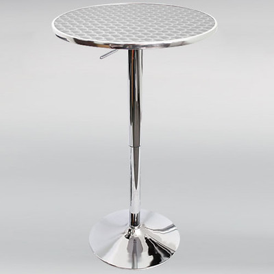 ... Table With Contemporary Stainless Steel Top. Bistro Adjustable Bar Stool