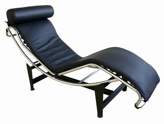 Le Corbusier Inspired Black Leather Chaise Modern Lounge Chair